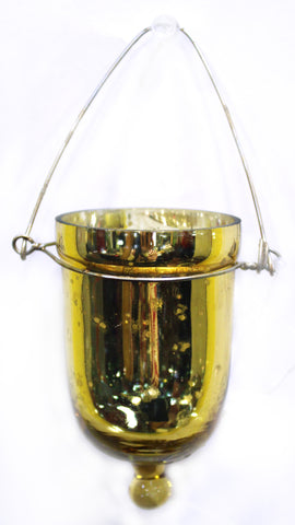 "01127 GLASS VOTIVE HOLDER w/HANGER  2.12 X 3"" GOLD - CS(6)"