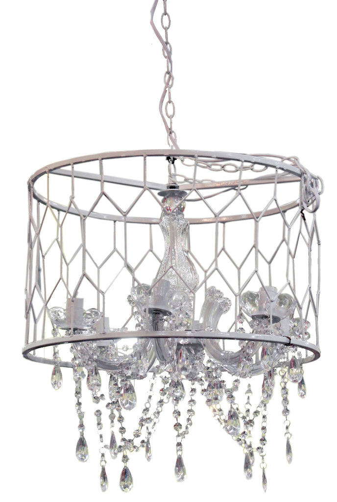 "AV37952 CHANDELIER 20""D X 13.5"" H  -WHITE  - CS(2)"