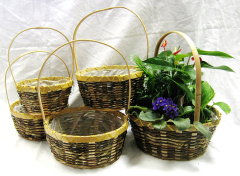 MHD178 Bamboo Baskets S/5