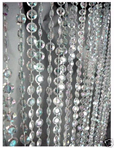 PC10AB-CRYS CRYSTAL IRIDESCENT DIAMOND CUT CURTAINS 3FT.W X 12FT.L  - CS(8)