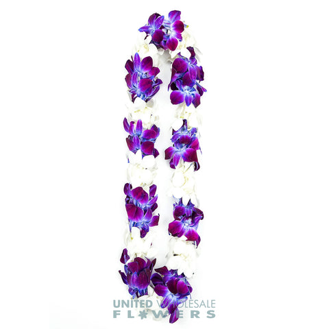 FRESH DOUBLE LEIS - PURPLE SONNIA & WHITE