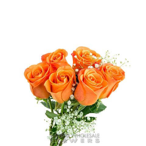 Rose Bouquet w/Gyp Orange (1/2 Dozen)