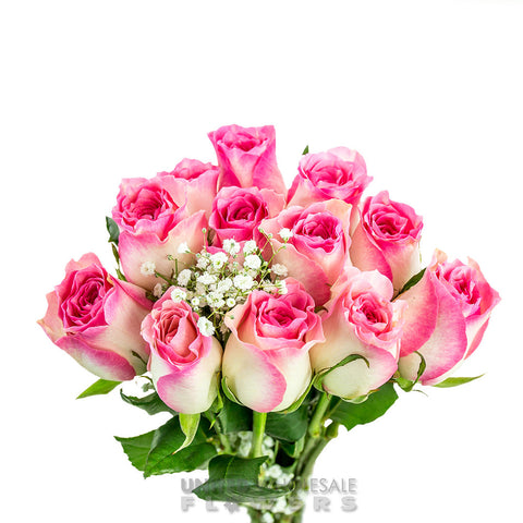 Rose Bouquet w/Gyp Pink (1 Dozen)