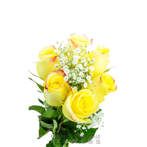 Rose Bouquet w/Gyp Yellow (1/2 Dozen)
