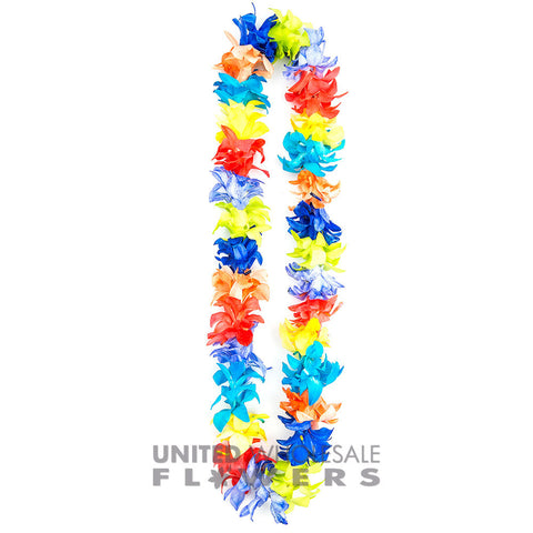 FRESH SINGLE LEIS - RAINBOW DYED WHITE