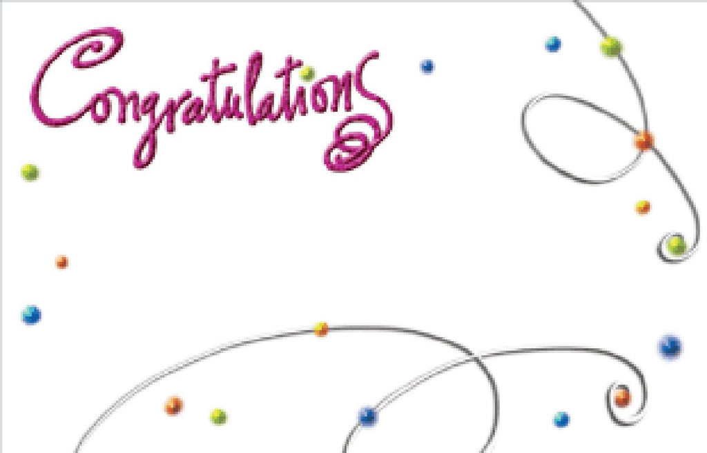 "SP0045 CAPRI CARD - WHITE ""CONGRATULATIONS"" - PKG/50 CS(10)"