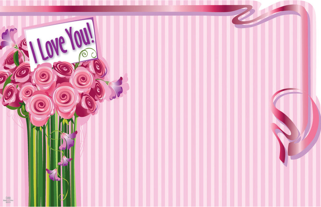 "SP0159 Capri Card - Pink w/Flowers ""I Love You"" - PKG/50 CS(10)"