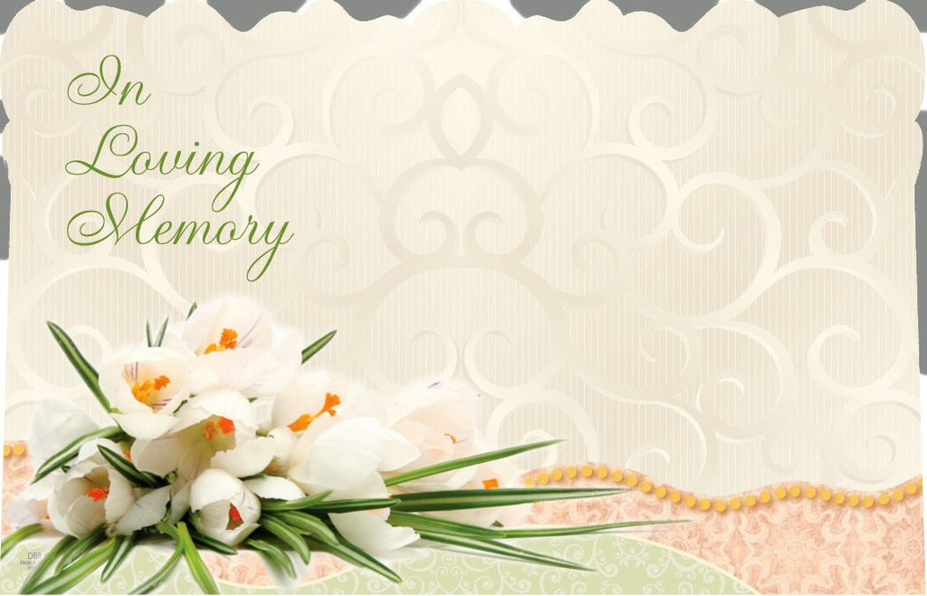"SP0206 Capri Card - Cream w/Flowers ""In Loving Memory"" - PKG/50 CS(10)"