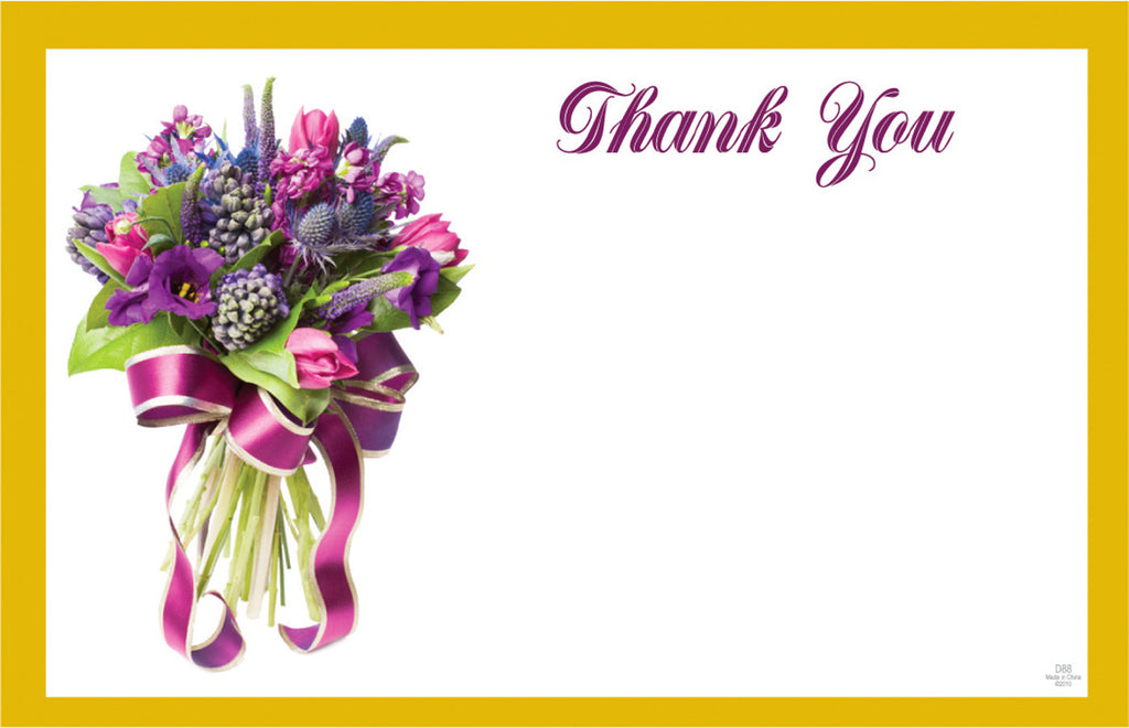"SP0240 Capri Card - White w/Yellow & Flowers ""Thank You"" - PKG/50 CS(10)"