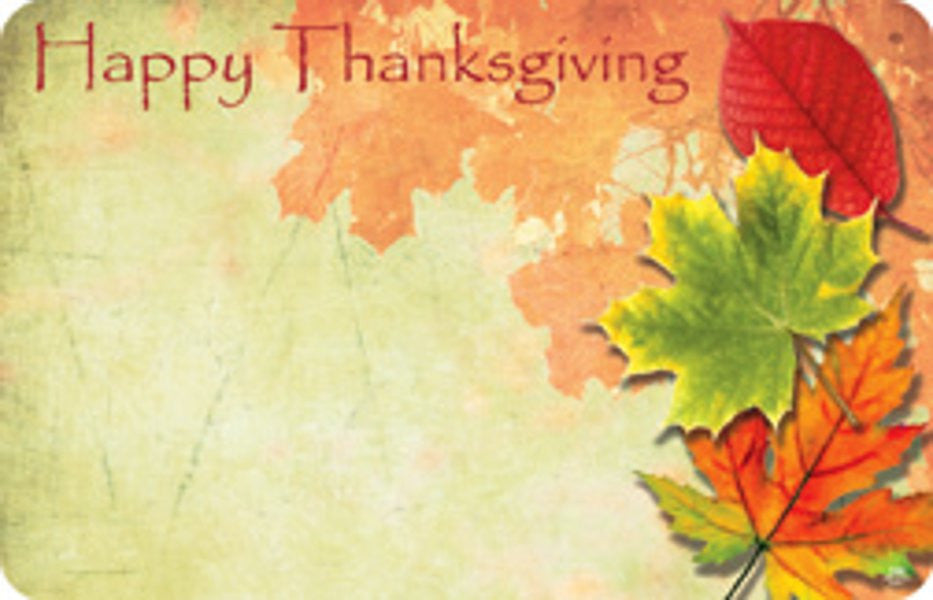 "SP0316 Capri Card - Fall Leaves ""Happy Thanksgiving"" - PKG/50 CS(10)"