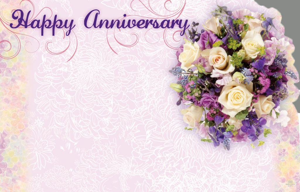 "SP0370 Capri Card - Lavender w/Flowers ""Happy Anniversary"" - PKG/50 CS(10)"