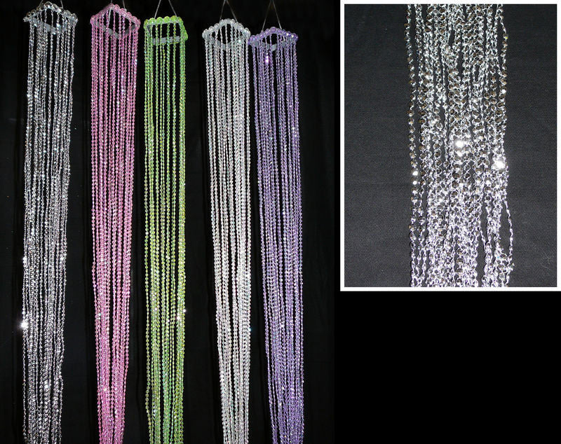 "STR-6MD-CRY MINI BEAD STREAMERS/TASSELS 2.25 X X40"" CRYSTAL -CS(10)"