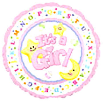 "114289 IT'S A GIRL BALLOON 18"" - PKG/5  CASE(10)"