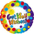 "114547 GET WELL WISHES BALLOON 18"" - PKG/5  CASE(10)"