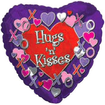 "214568 HUGS 'N' KISSES BALLOON 18"" PKG.5 -CASE(10)"