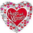 "214817 HUGS AND KISSES BALLOON 18"" - PKG/5  CASE(10)"