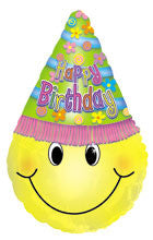 "434209 HAPPY BIRTHDAY HAPPY FACE PARTY HAT BALLOON 18X26"" - PKG/5  CASE(10)"