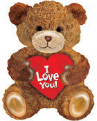"434319 I LOVE YOU TEDDY BEAR BALLOON 27.5"" - PKG/5  CASE(10)"