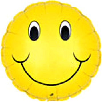 "114054 HAPPY FACE BALLOON 18"" - PKG/5  CASE(10)"