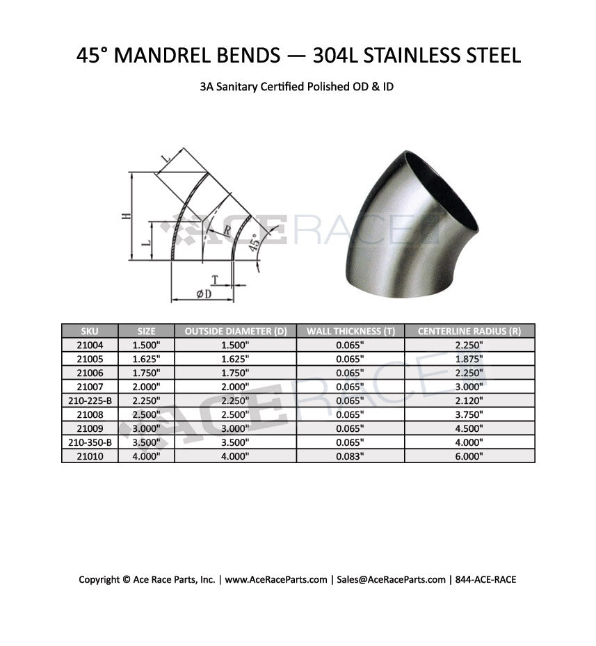 B2WK 2WK Product Dimensions Mandrel Bends Exhaust Elbows Exhaust Bends