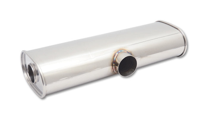 "Vibrant STREETPOWER Universal Muffler 3"" Side Inlet x Dual 2.5"" Outlet 304 Stainless (10632) - Ace Race Parts"