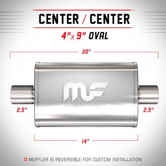 "MagnaFlow Universal Muffler - 2.5"" Inlet / 2.5"" Outlet (11216) - Ace Race Parts"