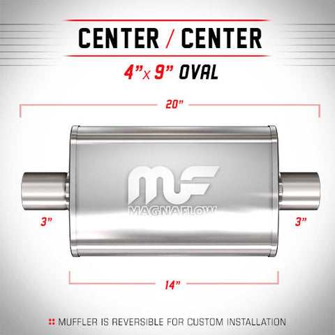 "MagnaFlow Universal Muffler - 3.0"" Inlet/Outlet - 4"" x 9"" Oval Body - 14"" Long (11219) - Ace Race Parts"