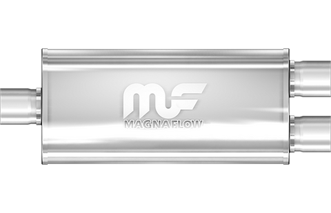 "MagnaFlow Universal Muffler - 2.25"" Inlet/ 2.0"" Outlet (Dual) - 5"" x 8"" Oval Body - 14"" Long (12148) - Ace Race Parts"