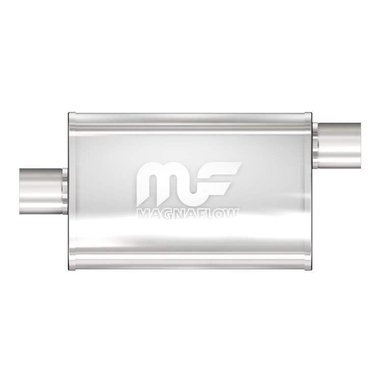 "MagnaFlow Universal Muffler - 2.5"" Inlet/Outlet - 4"" x 9"" Oval Body - 18"" Long - Center/Offset (14356)"