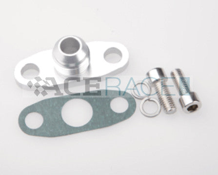 Oil Drain Flange with -10AN Fitting (for T3/T4, GT40-GT55 Turbos) - Ace Race Parts