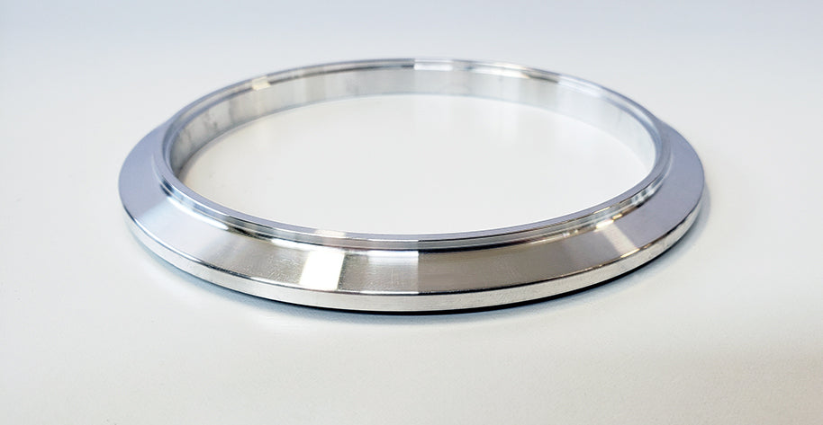 "4.000"" V-Band ""Male + O-Ring"" Flange (0.375"" Overall Thickness) 6061 Aluminum"