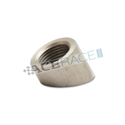 M18 x 1.5 O2 Sensor Bung 45° Angle Cut - 304 Stainless - Ace Race Parts