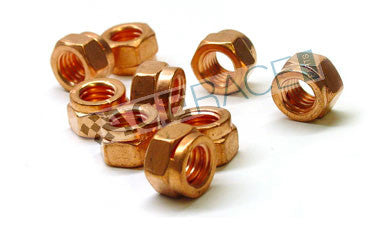 M10-1.50 Copper Plated Steel Hex Lock Nut Grade 8.8 - Ace Race Parts