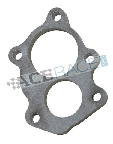 GT25R / GT28R Turbo Discharge Flange - 5 Bolt with Divorced Ports 304L Stainless - Ace Race Parts