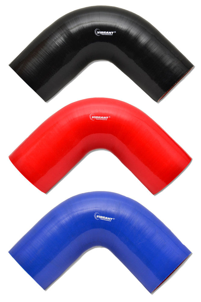 Vibrant 4-Ply Silicone 90° Elbows (Black, Red Blue)