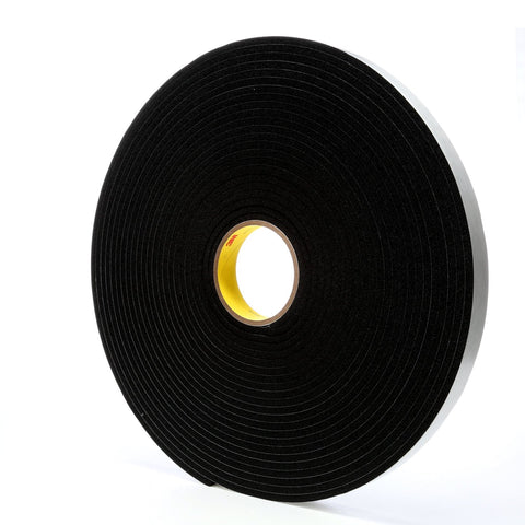 3M Vinyl Foam Tape 4504 Black, 1 in x 18 yd, 9 per case