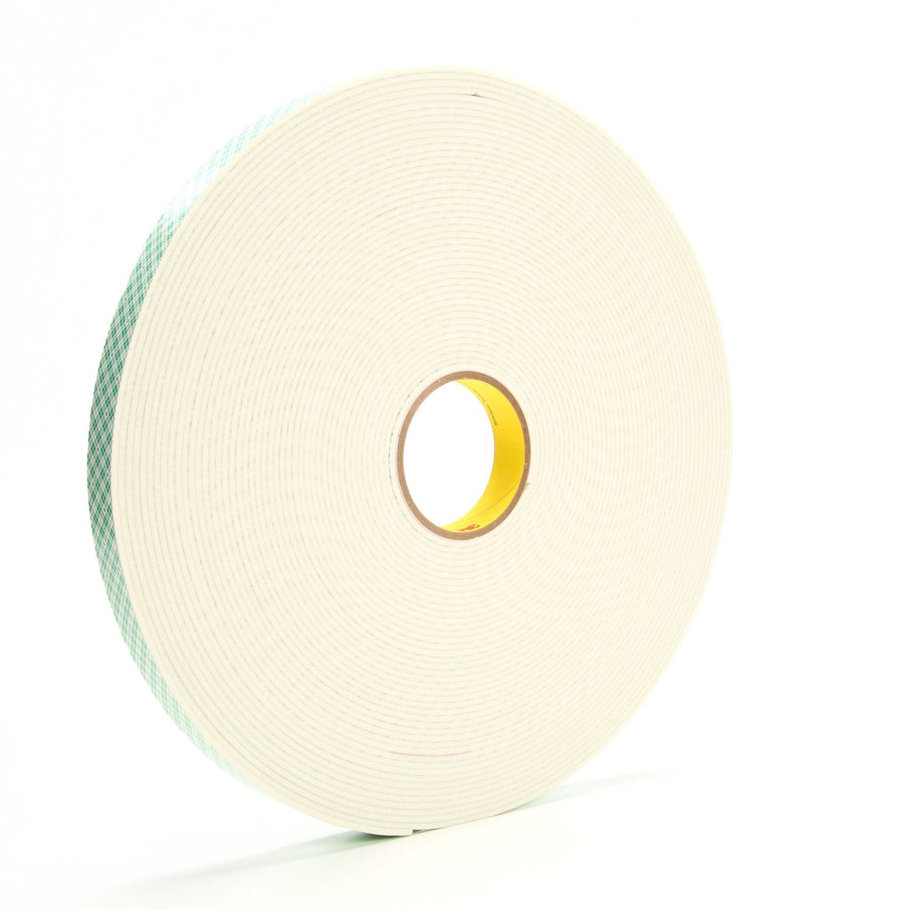 3M Double Coated Urethane Foam Tape 4008 Off-White, 1 in x 36 yd