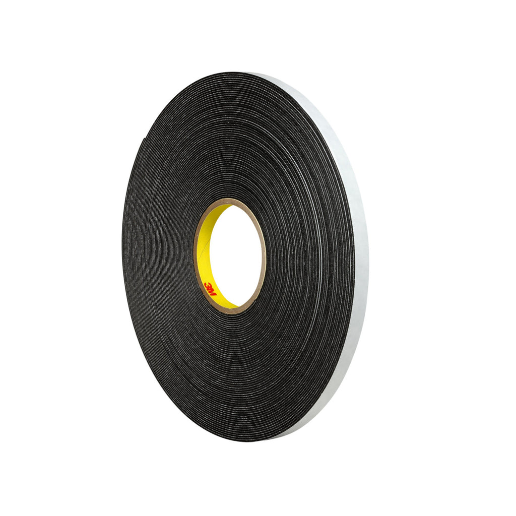3M Double Coated Polyethylene Foam Tape 4466 Black, 1 in x 36 yd