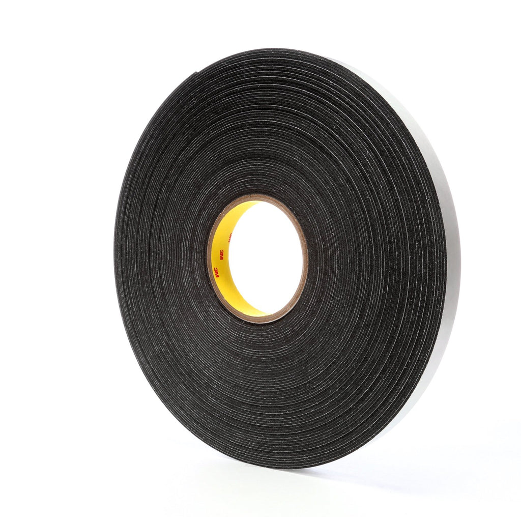 3M Double Coated Polyethylene Foam Tape 4466 Black, 3/4 in x 36