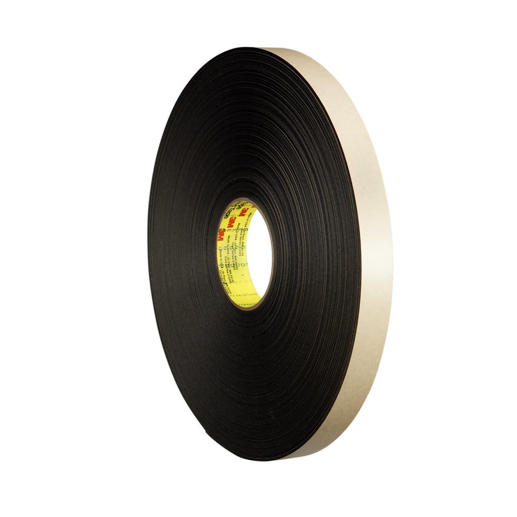 3M Double Coated Polyethylene Foam Tape 4492 Black, 1 in x 72 yd