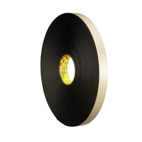 3M Double Coated Polyethylene Foam Tape 4492 Black, 1/2 in x 72