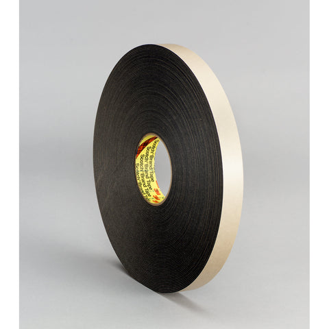 3M Double Coated Polyethylene Foam Tape 4496 Black, 3/4 in x 36