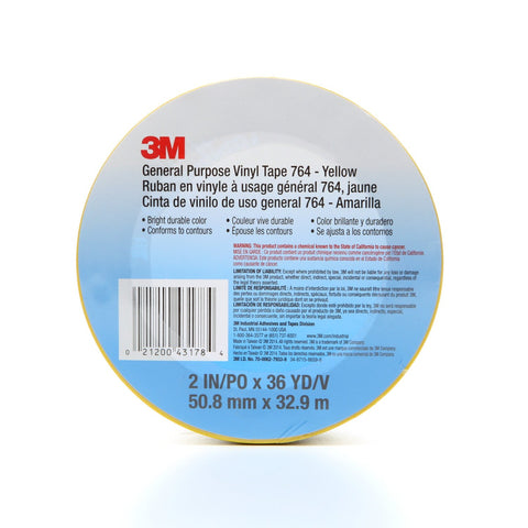 3M General Purpose Vinyl Tape 764 Yellow, 2 in x 36 yd 5.0 mil,
