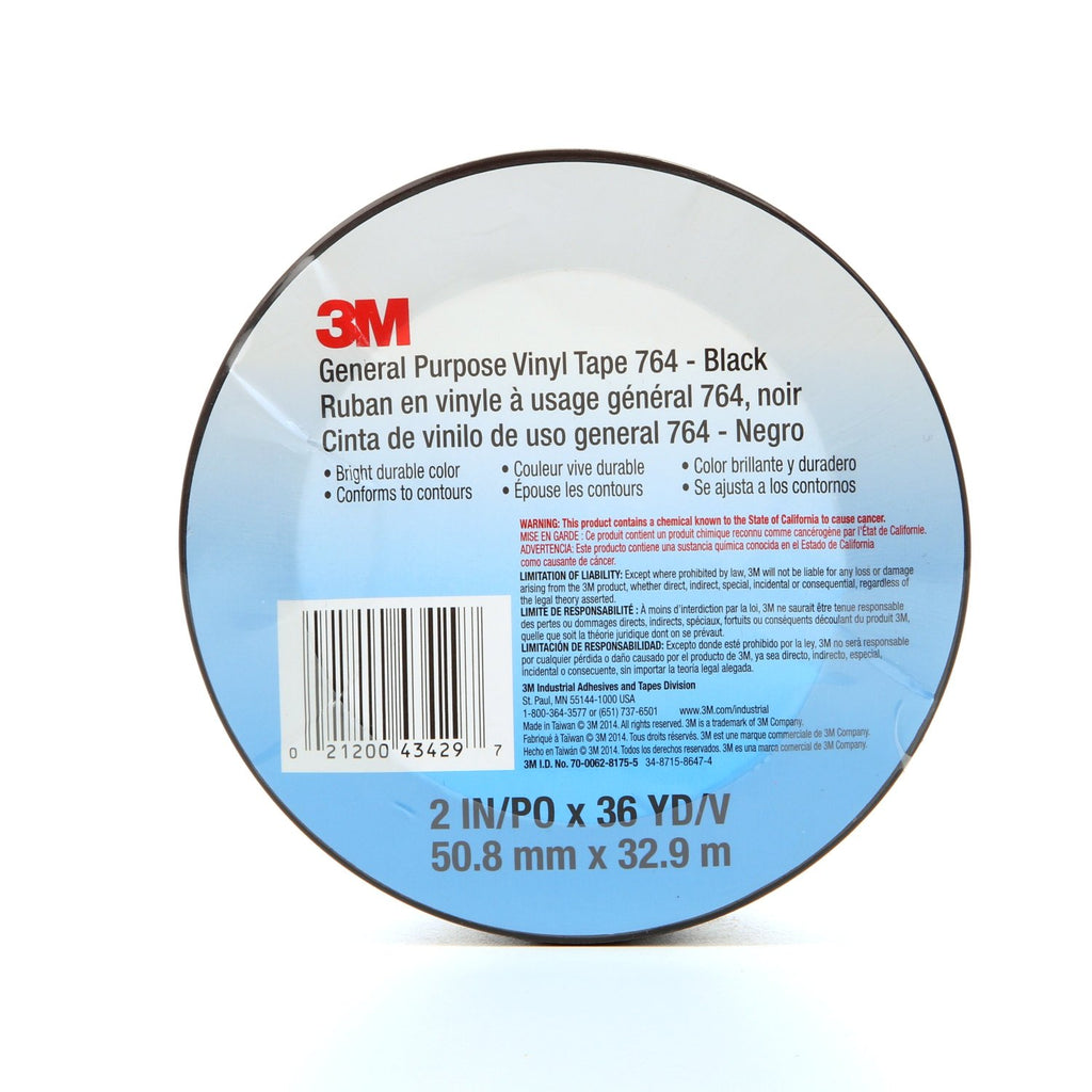 3M General Purpose Vinyl Tape 764 Black, 2 in x 36 yd 5.0 mil, 2