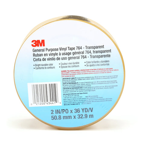 3M General Purpose Vinyl Tape 764 Transparent, 2 in x 36 yd 5.0