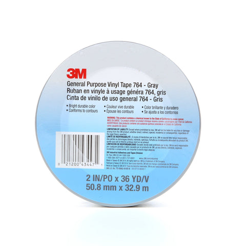 3M General Purpose Vinyl Tape 764 Gray, 2 in x 36 yd 5.0 mil, 24