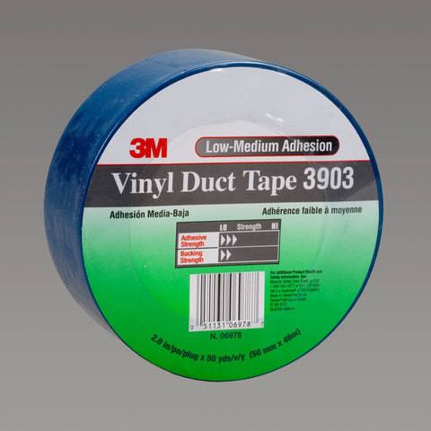 3M Vinyl Duct Tape 3903 Blue, 49 in x 50 yd 6.3 mil, 2 per case