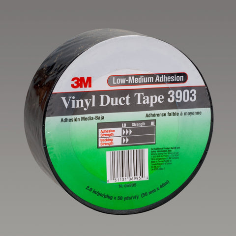 3M Vinyl Duct Tape 3903 Black, 49 in x 50 yd 6.3 mil, 2 per case