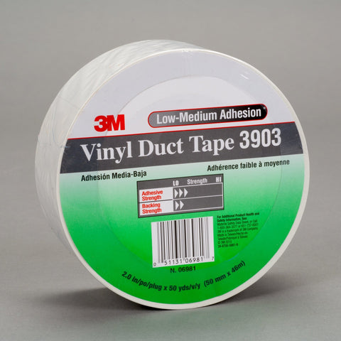 3M Vinyl Duct Tape 3903 White, 49 in x 50 yd 6.3 mil, 2 per case