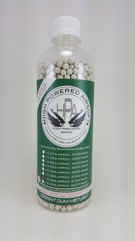 High Powered Airsoft (HPA) 0.36g BIO BBs 2700CT Bottle